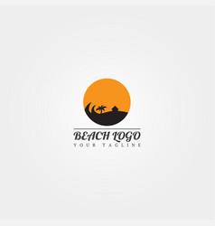Beach logo template creative design sunset vector