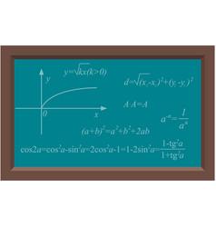Blackboard with math algebra chalk formula vector