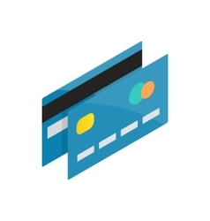 Blue credit card icon isometric 3d style vector image