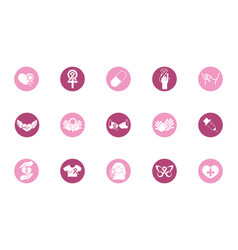 breast cancer awareness block icons set vector image