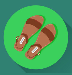 brown women summer sandals icon vector image