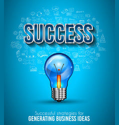 business success template with hand drawn vector image