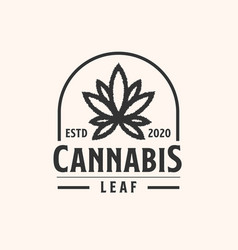 Cannabis emblem lineart logo template with black vector