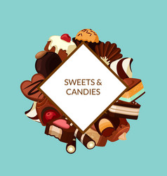 cartoon chocolate candies vector image