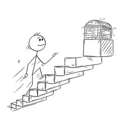 cartoon of businessman running up stairs or vector image