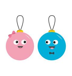 christmas ball toy icon set love couple boy girl vector image