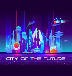 city future at night with vibrant neon lights vector image