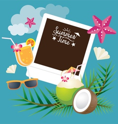 Coconut Fruit and Summer Objects with Frame vector