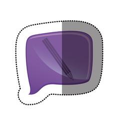 Color sticker with pencil icon in square speech vector