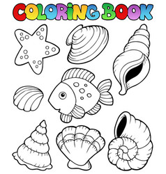 Coloring book with seashells vector