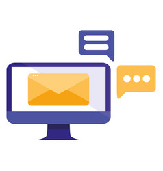 Computer with email and speech bubble vector