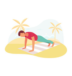 couple doing plank exercise core workout together vector image