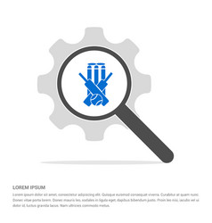 Cricket bails icon search glass with gear symbol vector