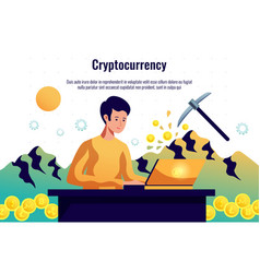 cryptocurrency mining horizontal composition vector image