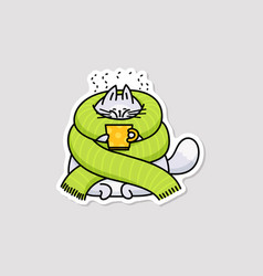 cute cartoon cat wrapped with big green scarf vector image