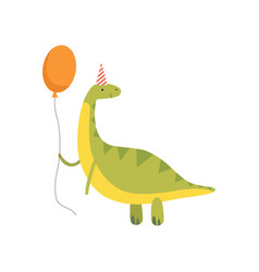 Cute dinosaur in party hat with red balloon funny vector