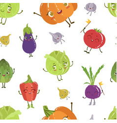 Cute funny vegetables characters seamless pattern vector