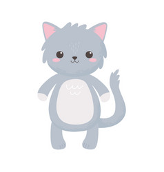 cute gray cat animal standing cartoon isolated vector image