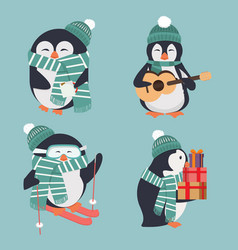 cute penguin wearing green hat and scarf set vector image