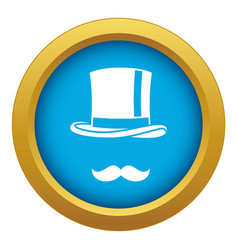 Cylinder and moustaches icon blue isolated vector