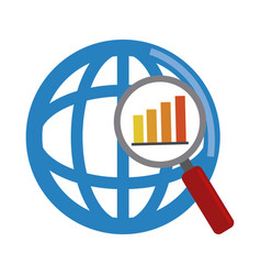 Data analysis world magnifier diagram financial vector