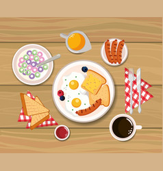 Delicious cereal with fried eggs and sliced bread vector