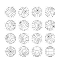 Earth grid globe 3d sphere isolated set on white vector