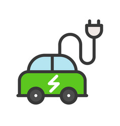 electric car icon green energy flat design vector image