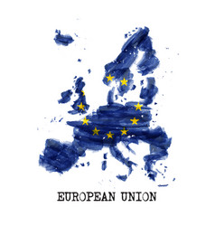 european union flag eu watercolor painting vector image