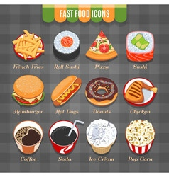 Fast Food Isometric Icons Set vector image vector image