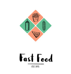 Fast food menu cover in vintage style vector