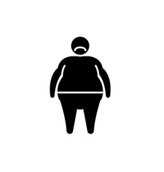 fat person black icon sign on isolated vector image
