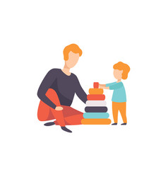 father playing pyramid toy with his son dad and vector image