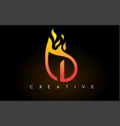 Flame i letter logo design icon with orange vector