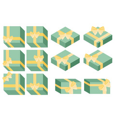 Flat style isometric wrapped gift or gift card vector