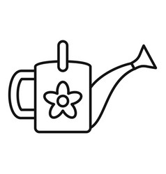 flower watering can icon outline style vector image