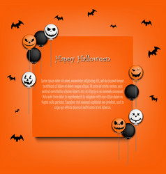 frame halloween with colorful balloons vector image