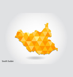 geometric polygonal style map of south sudan low vector image