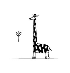 giraffe funny sketch for your design vector image