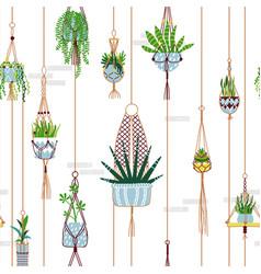 Green macrame house plant seamless pattern vector