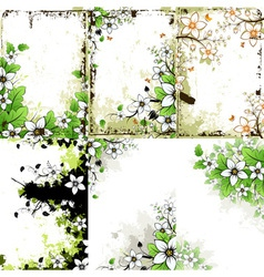 Grunge Floral Backgrounds Set vector image