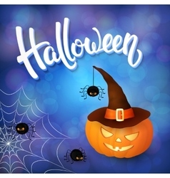 Halloween greeting card with pumpkin with hat vector