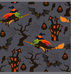 halloween seamless pattern with a witch vector image