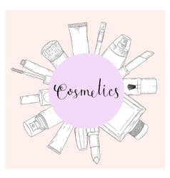 Hand drawn cosmetics set Beauty and makeup vector