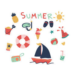 Hand drawn of cute summer elements vector