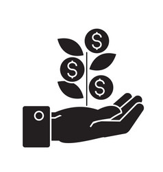 hand with money tree black concept icon vector image