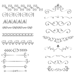 Handdrawn black handle elements vector