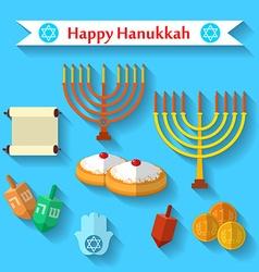 Happy Hanukkah flat icons set with dreidel game vector