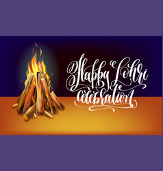 Happy lohri hand lettering celebration design with vector