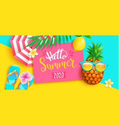 hello summer 2020 bright greeting banner vector image
